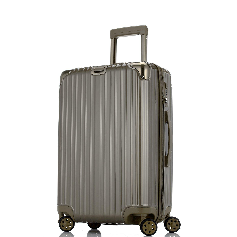 Unitravel スーツケース 超軽量【1年修理保証】 キャリーケース TSAロック ファスナー開閉式 キャリーバッグ 旅行 出張 静音8輪 s型 機内持込 B071NWXMBV L (24)型|褐色 褐色 L (24)型