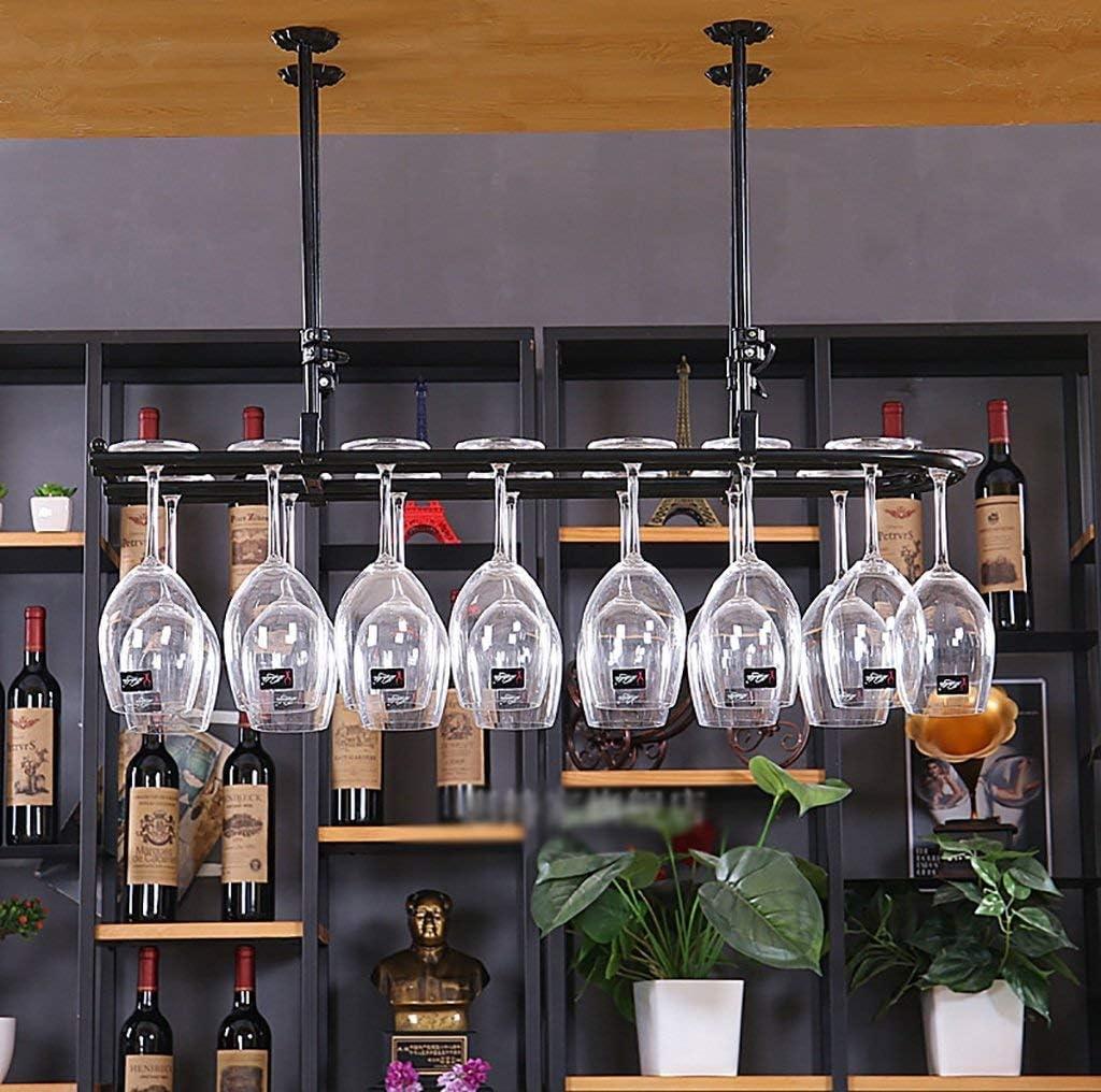 ホームバー用2列ステンレススチールワインラックワインラック(黒)-ワイングラスラック(サイズ:100 * 25CM)