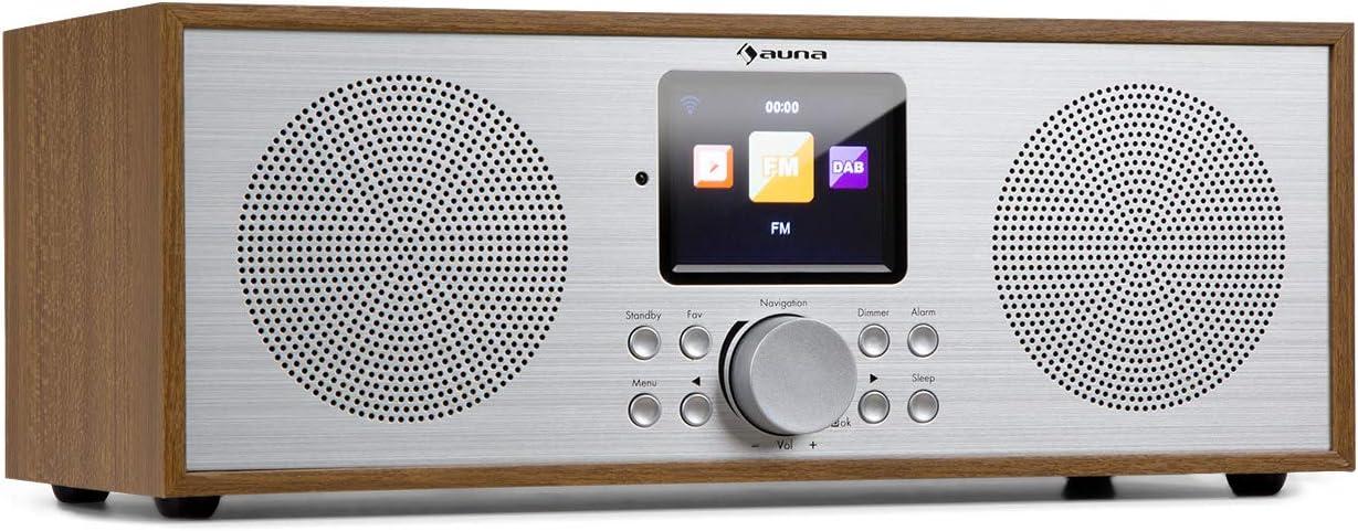 auna Silver Star Radio estéreo con Internet Dab+ / FM - Radio por WiFi , Radio de Cocina , Bluetooth , 8 W de Potencia Media , USB , Control por móvil , AUX , Despertador , Mando a Distancia , Roble