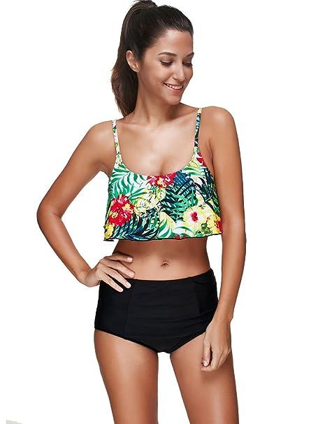 c23c315f5d Sexybody Women's Flounce High Waisted Cami Tankini Flamingos Leaf Floral  Print Two Piece Bikini Swimsuit Beachwear