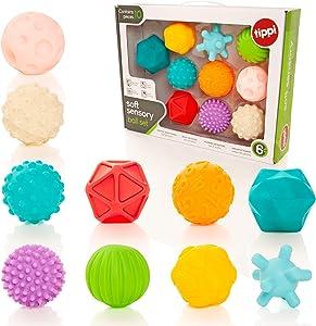 Tippi 10 Soft Sensory Play Ball Set - Giocattolo per Bebè o Bambino