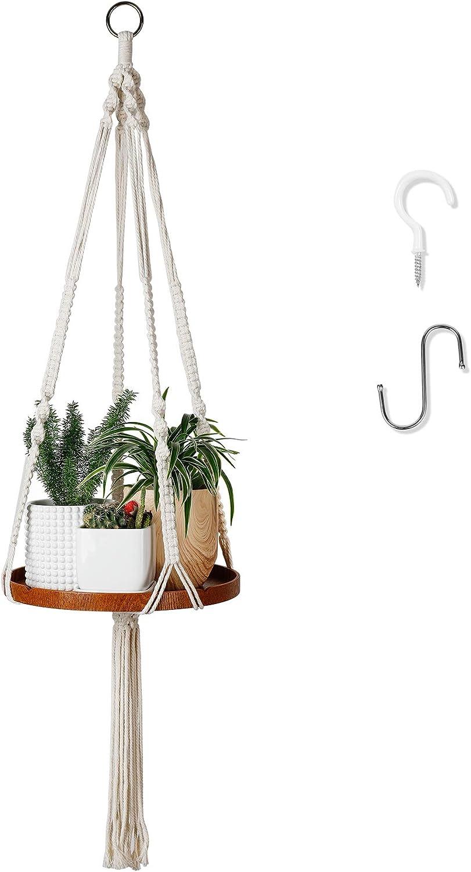 POTEY 609102 Macrame Plant Hangers Shelf - Indoor Hanging Planter Shelf for Boho Home Decor Decorative Flower Pot Holder Suitable for Small Plants 50'' with Tassel,Brown