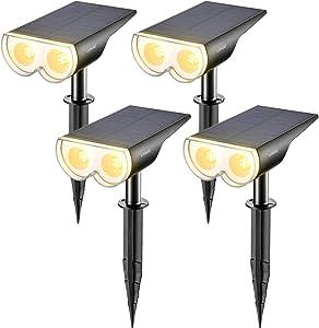 Linkind 4-Pack Dusk-to-Dawn Solar Landscape Spotlights, 16 LEDs 3000k Warm White, IP67 Waterproof Adjustable Solar Powered Wireless Outdoor Spot Lights for Yard Garden Driveway Porch Walkway
