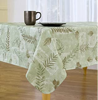 Beautiful Boxed Fern Flannel Backed Vinyl Tablecloth Indoor Outdoor, 52 Inch By  70 Inch