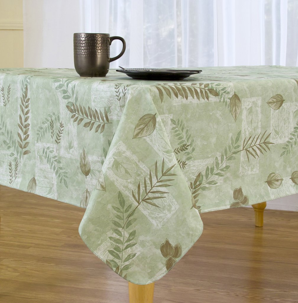 Boxed Fern Flannel Backed Vinyl Tablecloth Indoor Outdoor, 70-Inch Round, Sage