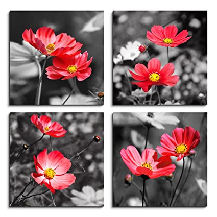 dc2f9170b5a Wall Art For Living Room Black and White red flower Canvas Wall Decor for  Home artwork