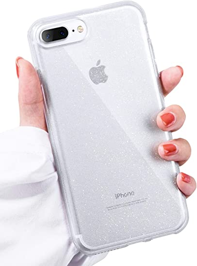 IDweel iPhone 8 Plus Case, iPhone 7 Plus Case Clear, [Glitter Series] Bling Sparkle Slim Fit Hybrid Shock Absorption TPU Bumper Glitter Cover for ...