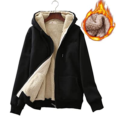 Flygo Women s Classic Casual Thick Warm Full Zip Sherpa Lined Hooded  Sweatshirt Jacket (X- dafdbd406e