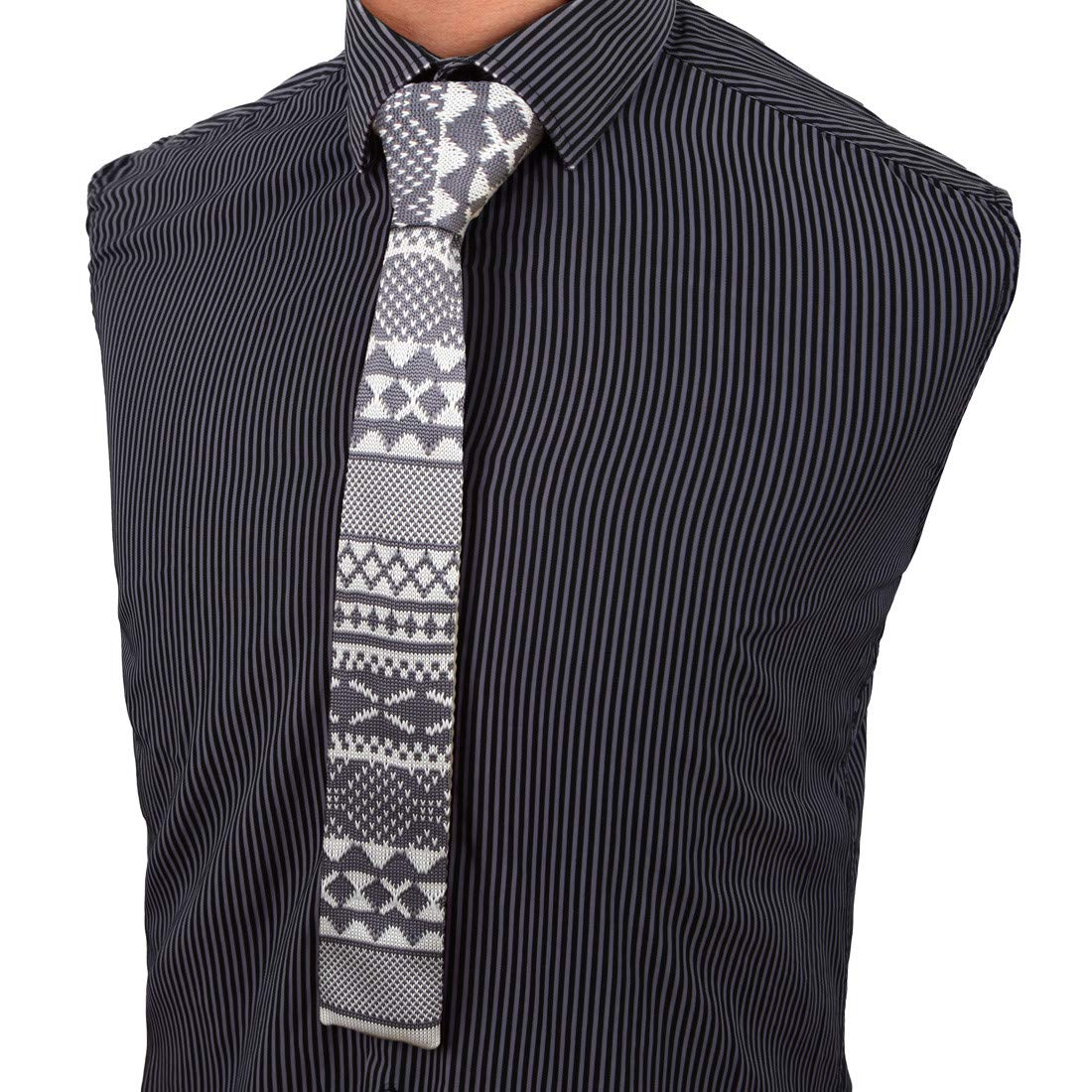Shadidi Mens Check Flag Yellow Printing Tie Necktie