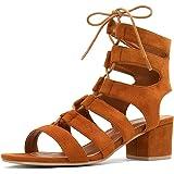 Allegra K Women's Cutout Heeled Lace-up Sandals