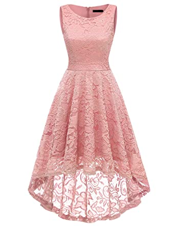 c67a67bc43c DRESSTELLS Women s Homecoming Vintage Floral Lace Hi-Lo Cocktail Formal  Swing Dress Dress Blush S