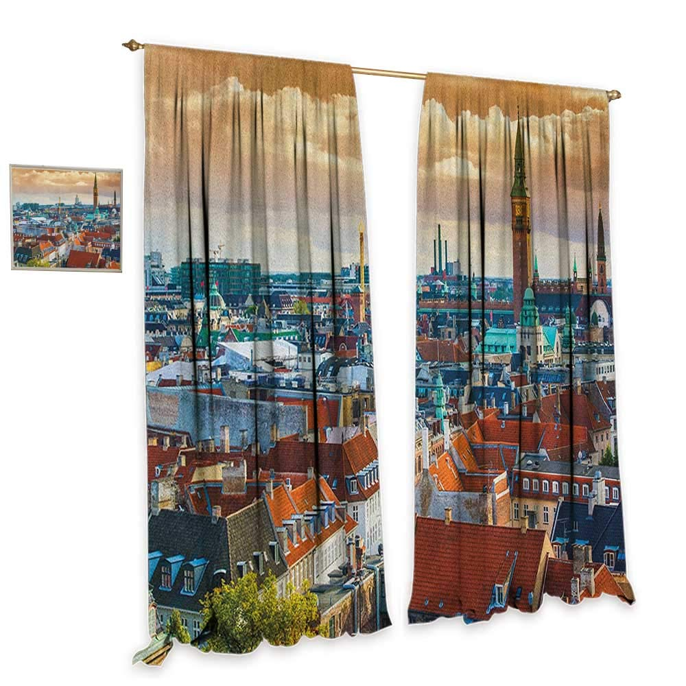 homefeel City Window Curtain Fabric Aerial View Copenhagen Historical Buildings Urban Lifestyle Medieval Architecture Customized Curtains W84 x L108 Multicolor