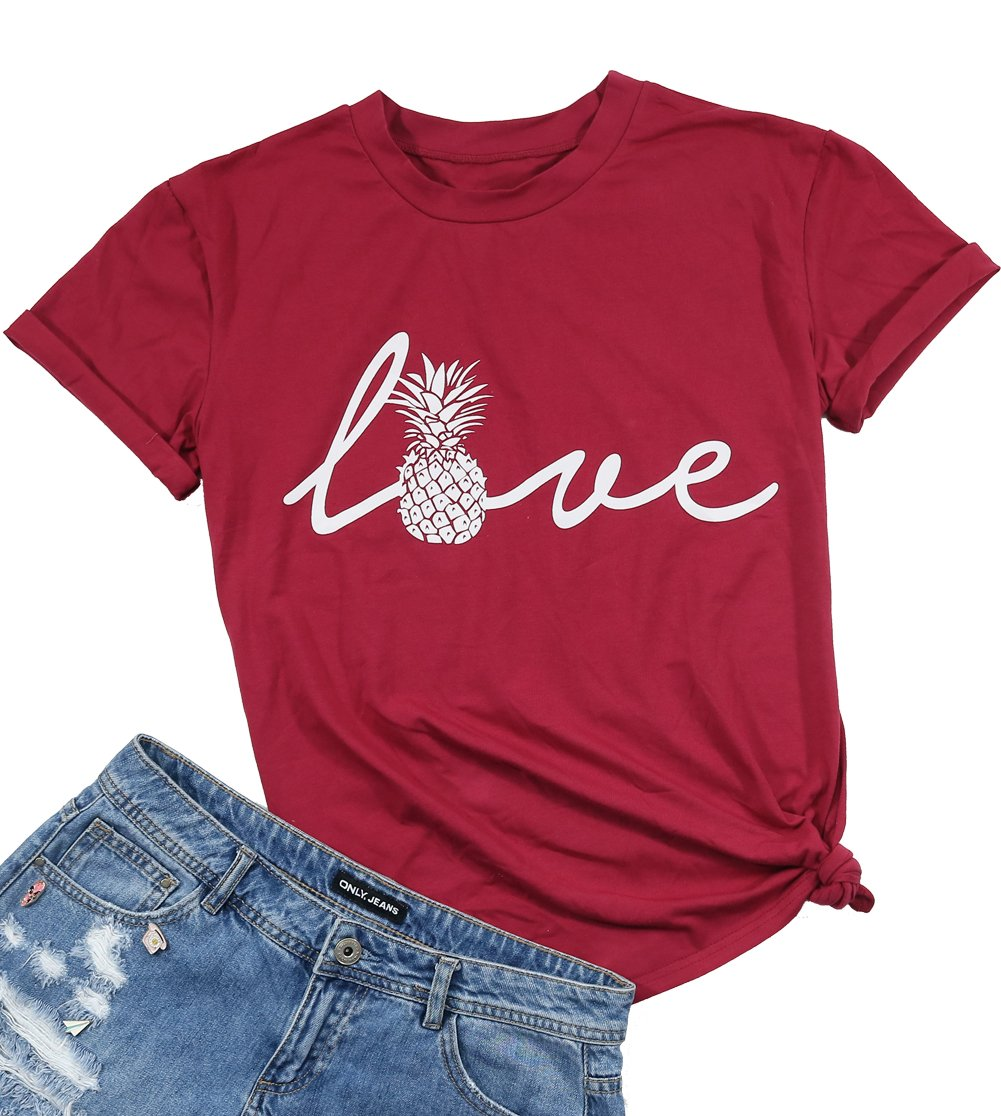 Love Letter Top Women Pineapple Shirt Letter Print Short Sleeve Crewneck T Shirt Size S (Red)