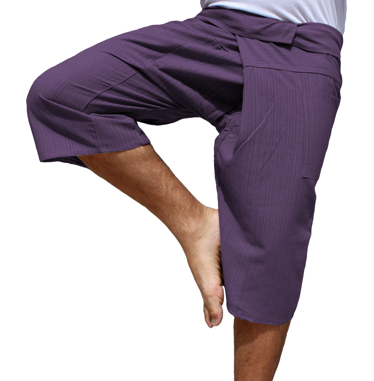 RaanPahMuang Thin Striped Cotton Plus Fisherman Capri Wrap Plus Pants, XX-Large, Palatinate Purple