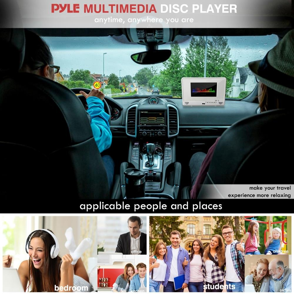Pyle 10.1'' Portable DVD Player IP67 Waterproof  Car Headrest Backseat Mobile Marine  with Ultra-thin TFT HD Screen USB/SD Readers | Headphone Jack (PLMRDV104) by Pyle (Image #6)
