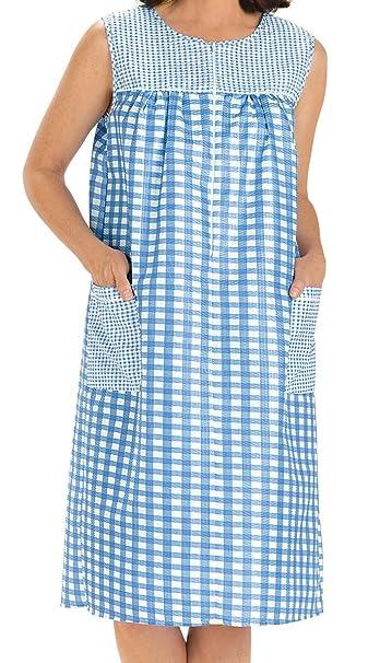 8987f39095 Ezi Women s Sleeveless Zipper Gingham Shift House Dress Duster