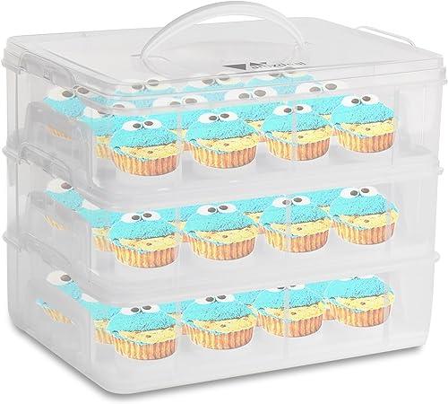 Amzdeal Caja para Tarta Plástico Cupcake Carrier con 3 Capas ...