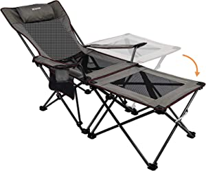XGEAR 2 in 1 Folding Camping Chair Portable Lounge Chair with Detachable Table for Camping Fishing Beach and Picnics