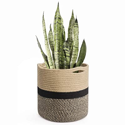 "TIMEYARD Sturdy Jute Rope Plant Basket Modern Woven Basket for 10"" Flower Pot Floor Indoor Planters, 11"" x 11"" Storage Organizer Basket Rustic Home Decor, Black and Beige Stripes : Garden & Outdoor"