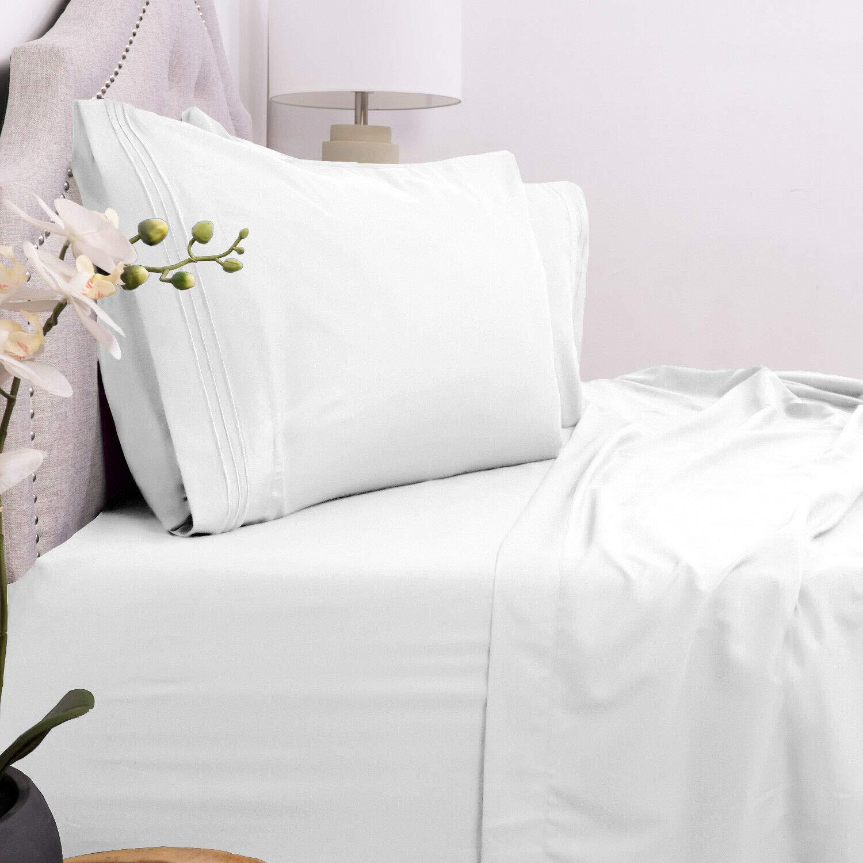 Cozy Home Collection ホテルラグジュアリーベッドシーツ エクストラソフト ディープポケット 16インチ 簡単フィット 通気性 快適 ツイン ホワイト B07P6MT7TJ ホワイト ツイン