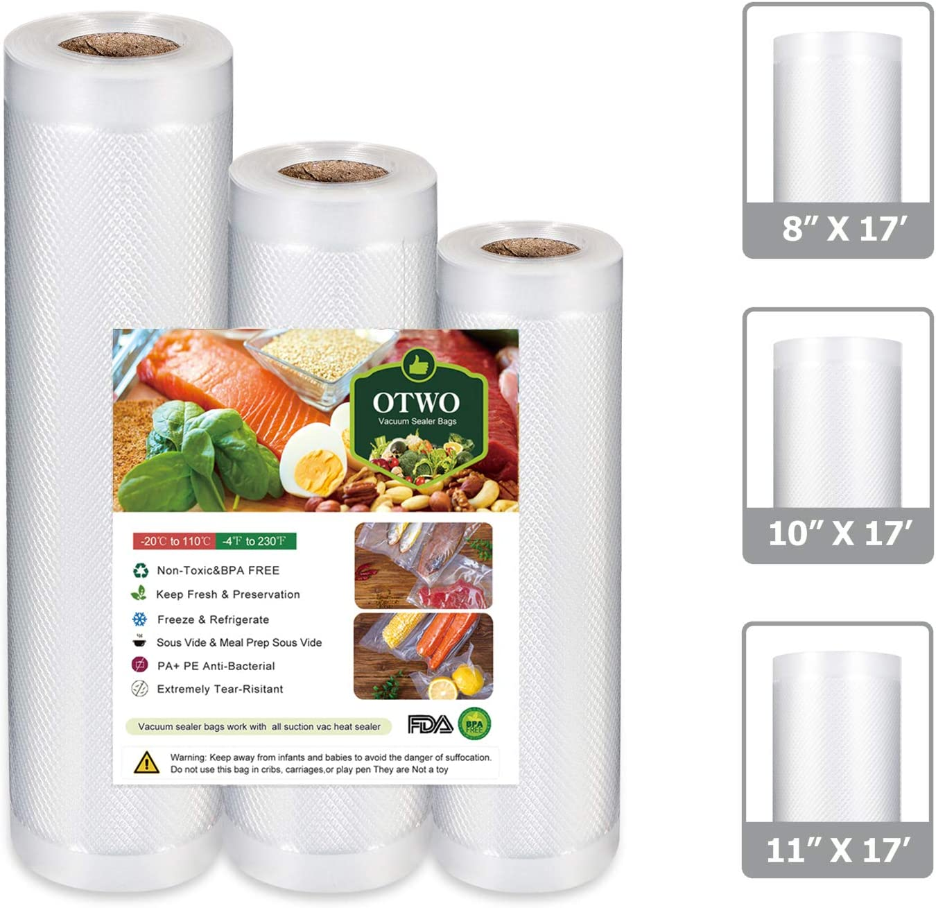 """OTWO Vacuum Sealer Bags for Food Saver 8 x 17', 10"""" x 17', 11"""" x 17' for Food Save Vacuum Sealer 3 Rolls Commercial Grade Plastic, Food Vac Storage & Seal, Airtight Vacuum Saver, Microwave & Freezer Safe.Help You To Be a Good Cooker and Your Family Healthier"""