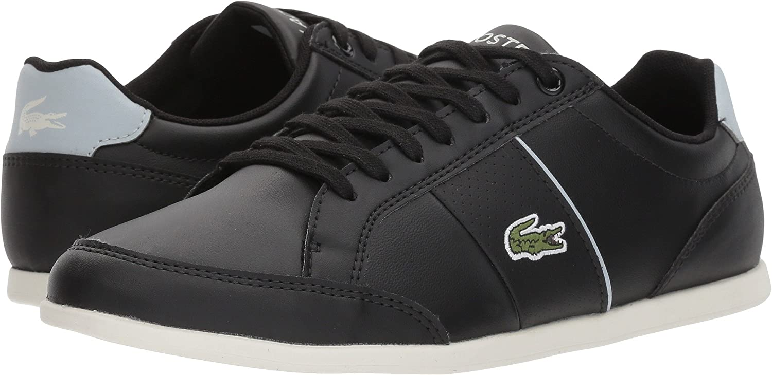 Lacoste Women's SEFORRA Leather Sneakers B076TDSKBF 7.5 B(M) US|Black/Light Blue