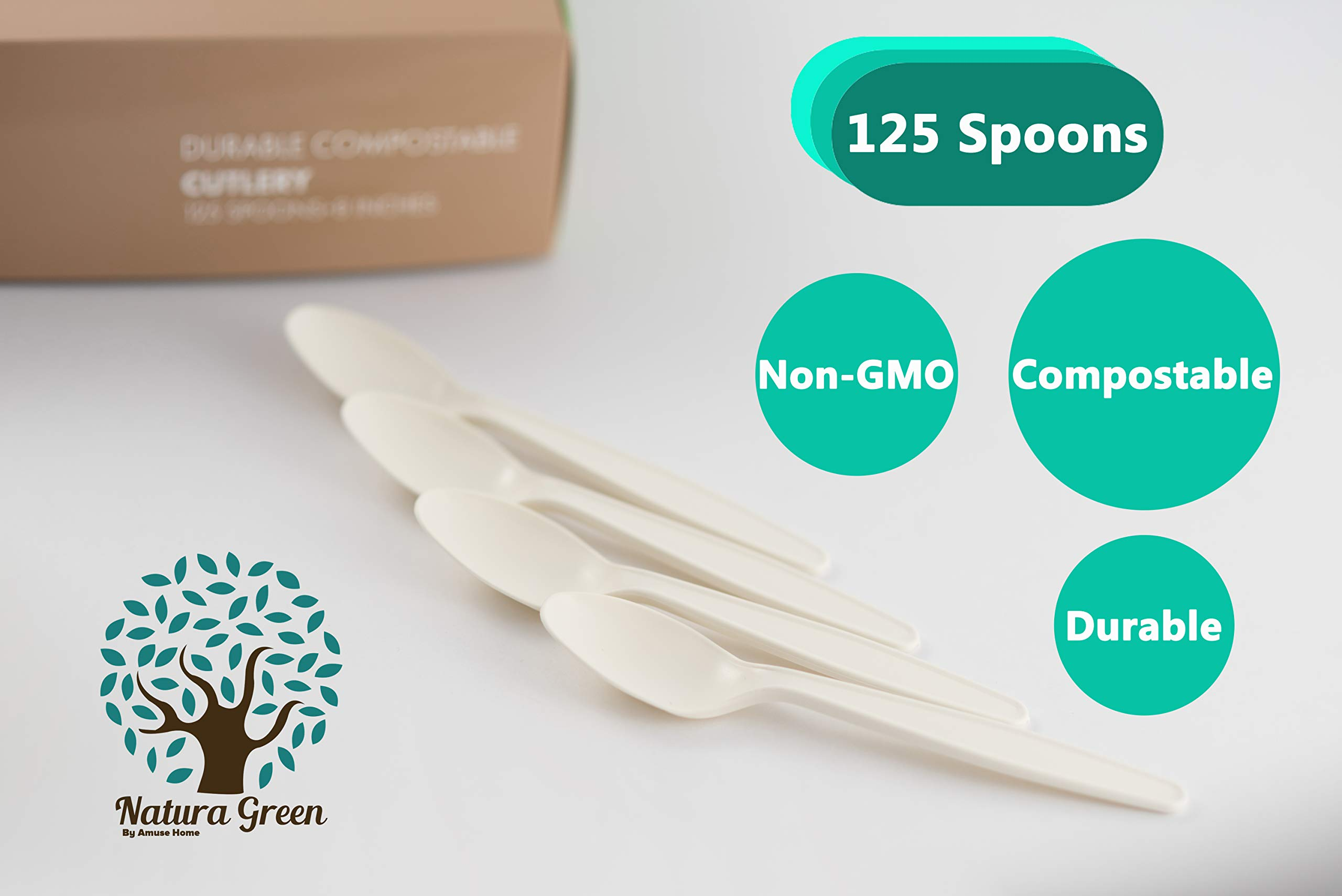 Natura Green- 100% Compostable Large Spoon (8 inches) - 125 units packed in a beautiful and convenient Tray. BPA & Toxin Free. by Amuse Home