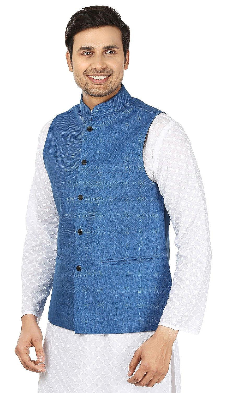 Men\'s Indian Traditional Nehru Jacket Jute Sleeve Less Waistcoat ...
