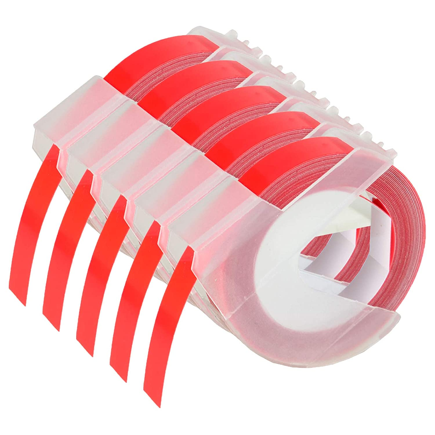 KCYMTONER 5 roll Pack Replace DYMO 3D Plastic Embossing Labels Tape for Embossing White on Red 3/8'' x 9.8' 9mm x 3m 520102 Compatible Dymo Executive III Embosser 1011 1550 1570 1610 Label Markers altom international Inc.