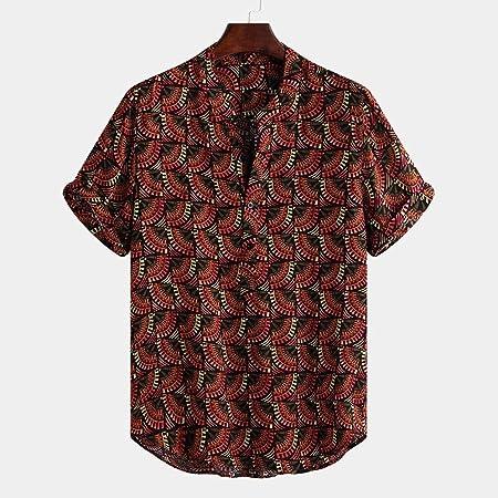 LHWY Camisa Tops T Shirt 2019 New Moda Camiseta Casual Hombre Vintage étnico Impreso Cuello Alto Manga Corta Suelta Blusa cómodas Rayas tee Playa Suave Cómodo Transpirable