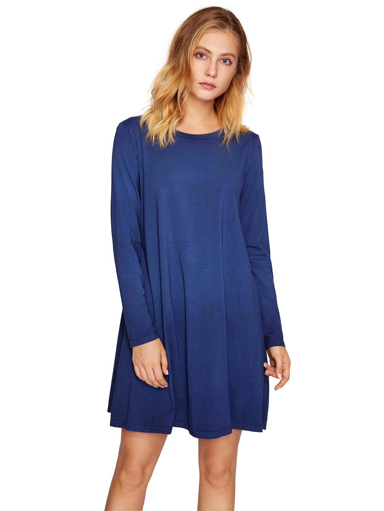 f03a508bb Galleon - Romwe Women's Tunic Swing T-Shirt Dress Short Sleeve Tie Dye  Ombre Dress (Small, 0-Dark Blue)