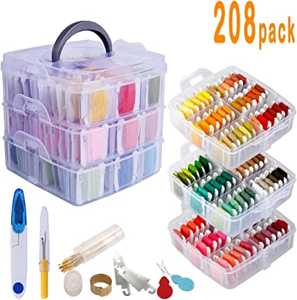 208 Pack Embroidery Thread Floss Friendship Bracelet Set Including 170 Colors Cross Stitch Sewing Thread and 38 Pcs Cross Stitch Tool,3-Tier Transparent Box for Storage
