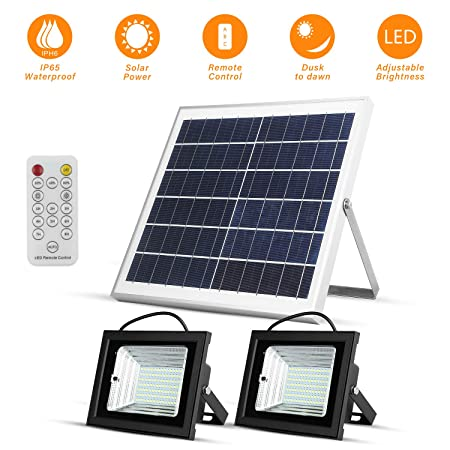 Richarm Solar Led Flood Lights Outdoor Dusk to Dawn 15W 13.8 Solar Panels 800LM Dual 98 LED Lights with Remote IP65 Waterproof Solar Powered for Shed Barn Deck Flag Pole Pool Floodlights