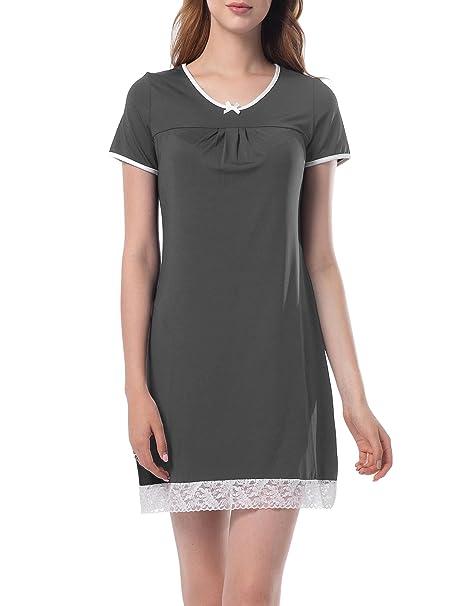 ed032d95a Pijama Mujer Camison Verano Manga Corta Vestido De Dormir Camisa De Noche  Ropa De Dormir con Encaje  Amazon.es  Ropa y accesorios
