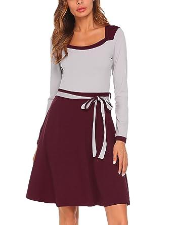 Damen Elegant Abendkleid Cocktailkleid Langarm Kleid Kontrast Kleid mit  Schleife Rundhals Knielang Festlich  Amazon.de  Bekleidung 5e0d18cf24