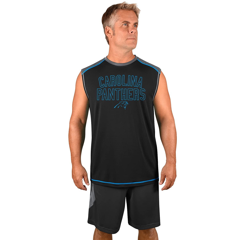 Profile Big Tall NFL Carolina Panthers Adult Men NFL Plus S Synthetic Muscle 3X Stormgrey Black