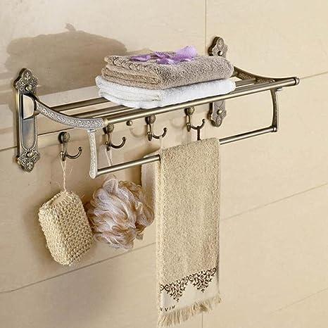 GL&G Europeo Tallado Baño Toallero de baño Barra de Toallas Doble acero inoxidable actividad Barras de