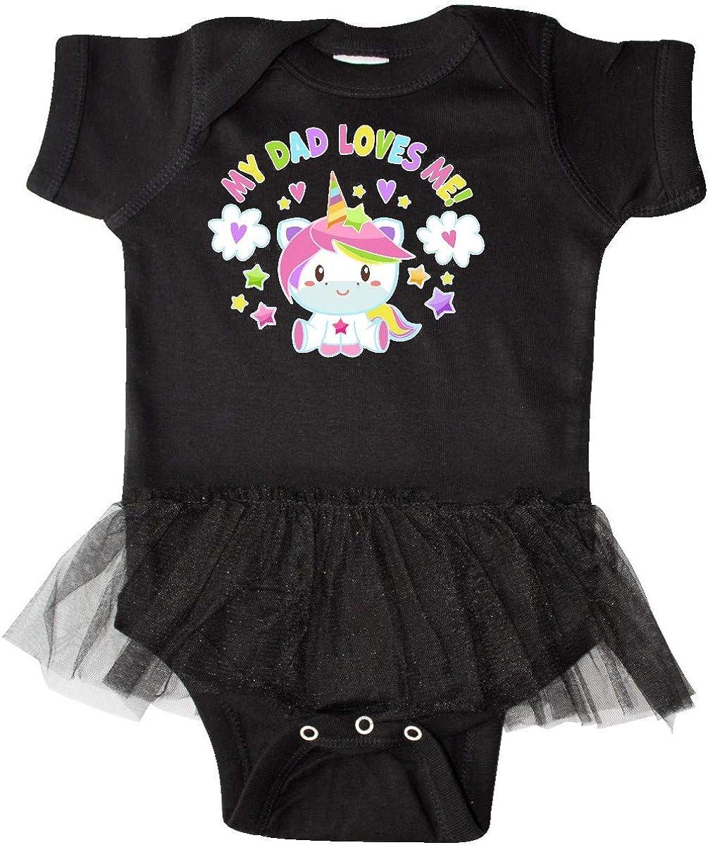 inktastic My Dad Loves Me with Cute Rainbow Unicorn Infant Tutu Bodysuit