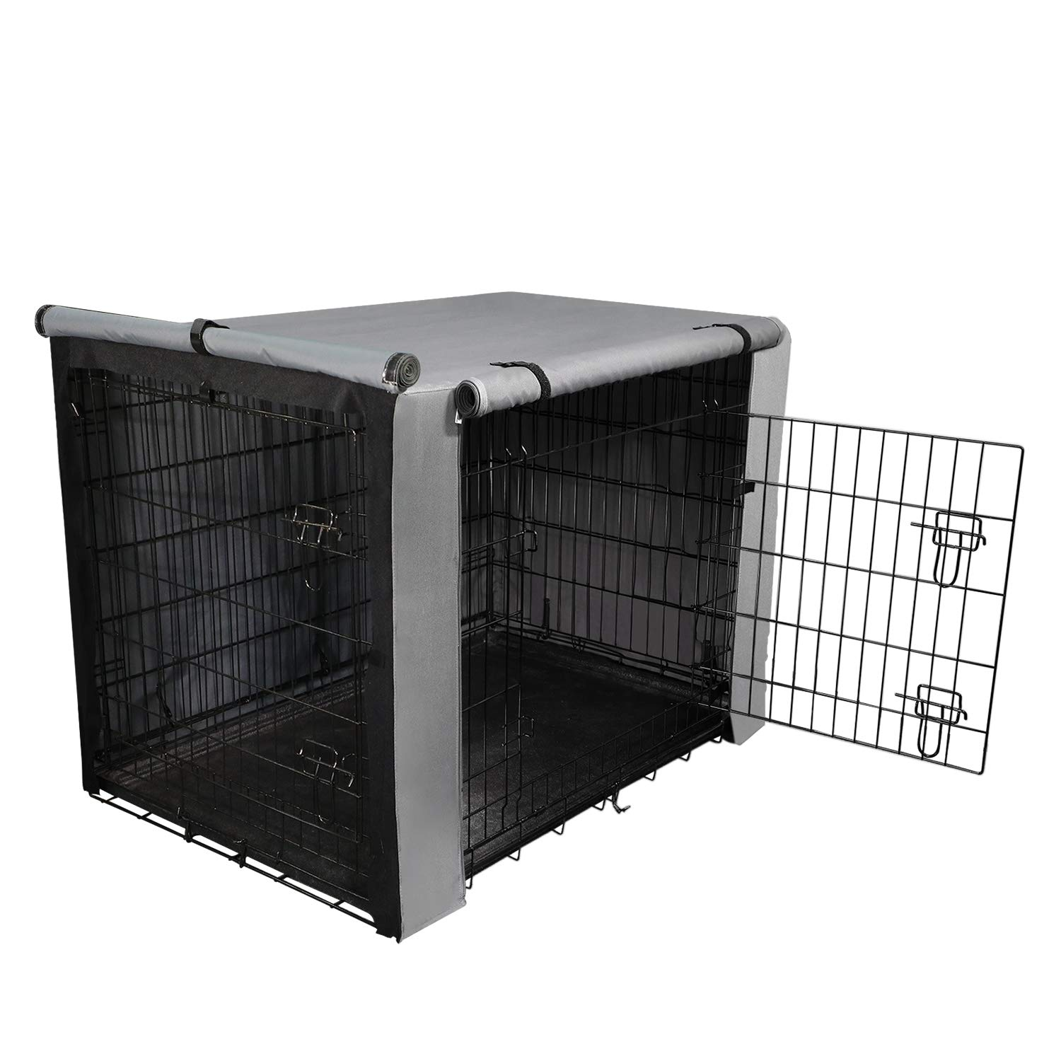 yotache Dog Crate Cover for 36'' Medium Double Door Wire Dog Cage, Lightweight 600D Polyester Indoor/Outdoor Durable Waterproof & Windproof Pet Kennel Covers, Gray by yotache
