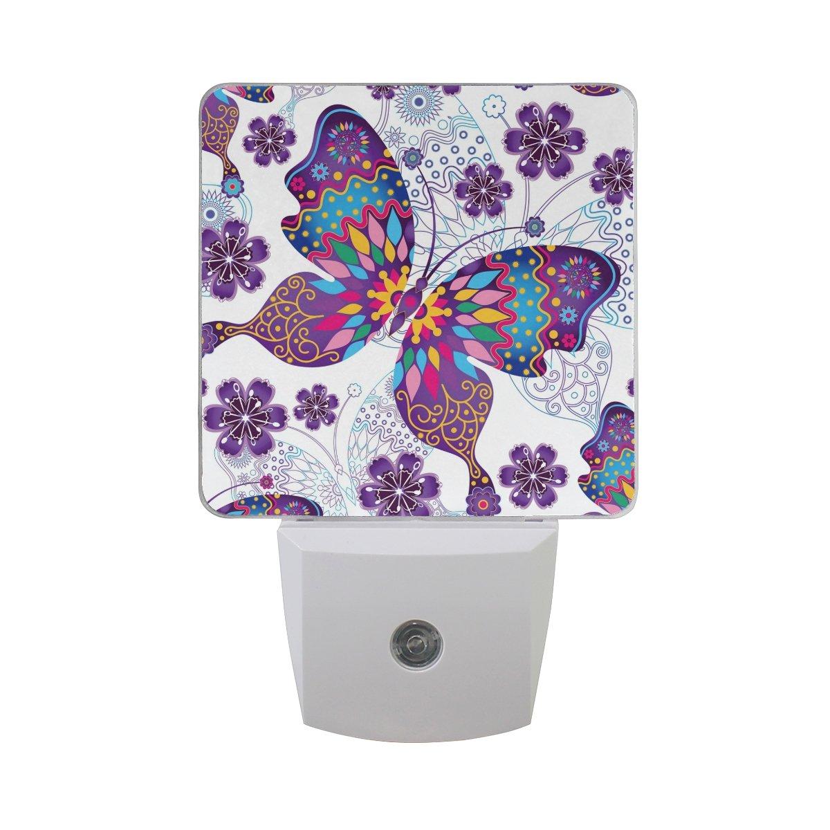 JOYPRINT Led Night Light Summer Animal Butterfly Floral Mandala, Auto Senor Dusk to Dawn Night Light Plug in for Kids Baby Girls Boys Adults Room