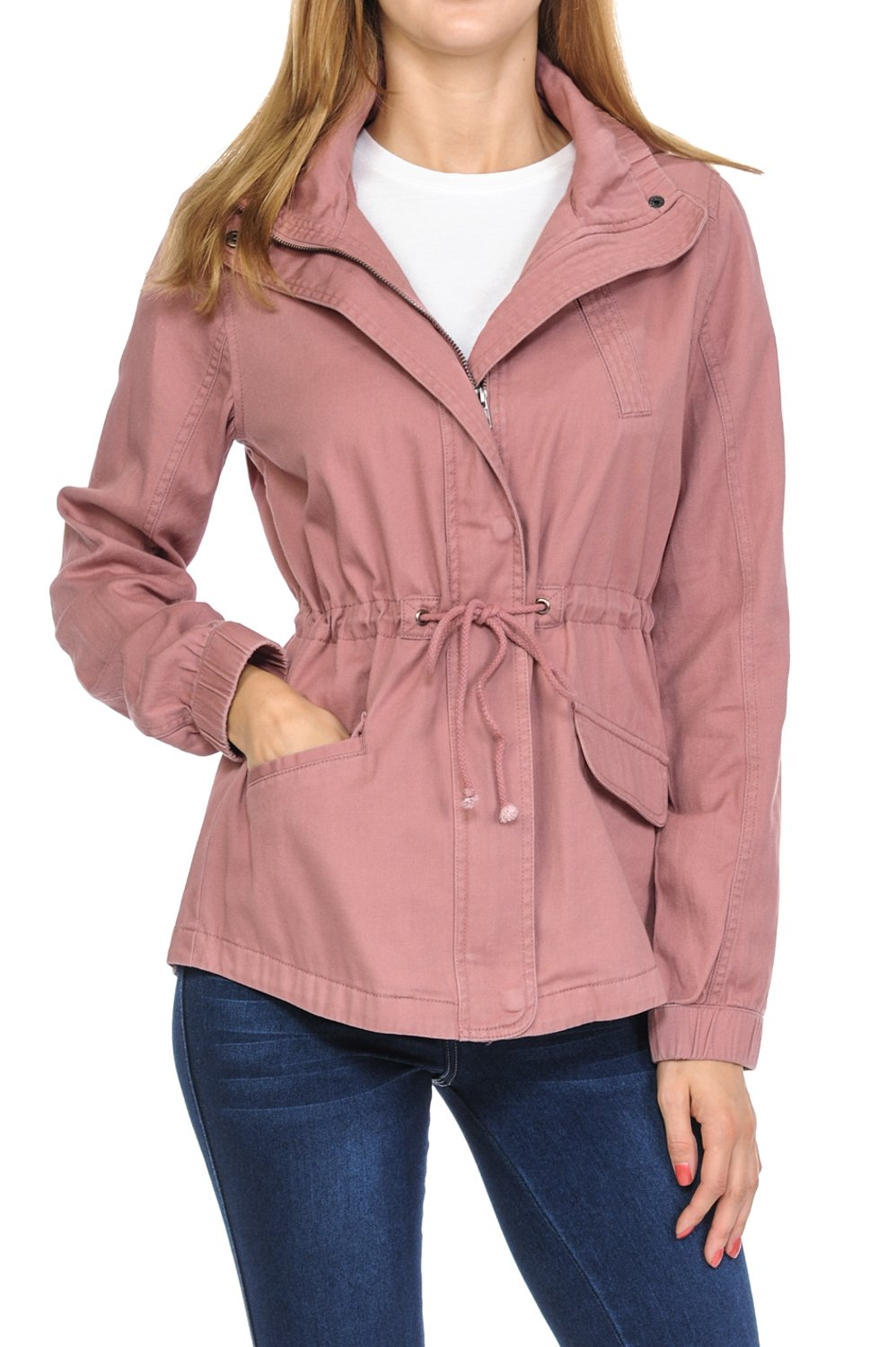 Women's Premium Vintage Wash Lightweight Military Fashion Twill Hoodie Jacket Rose 2XL