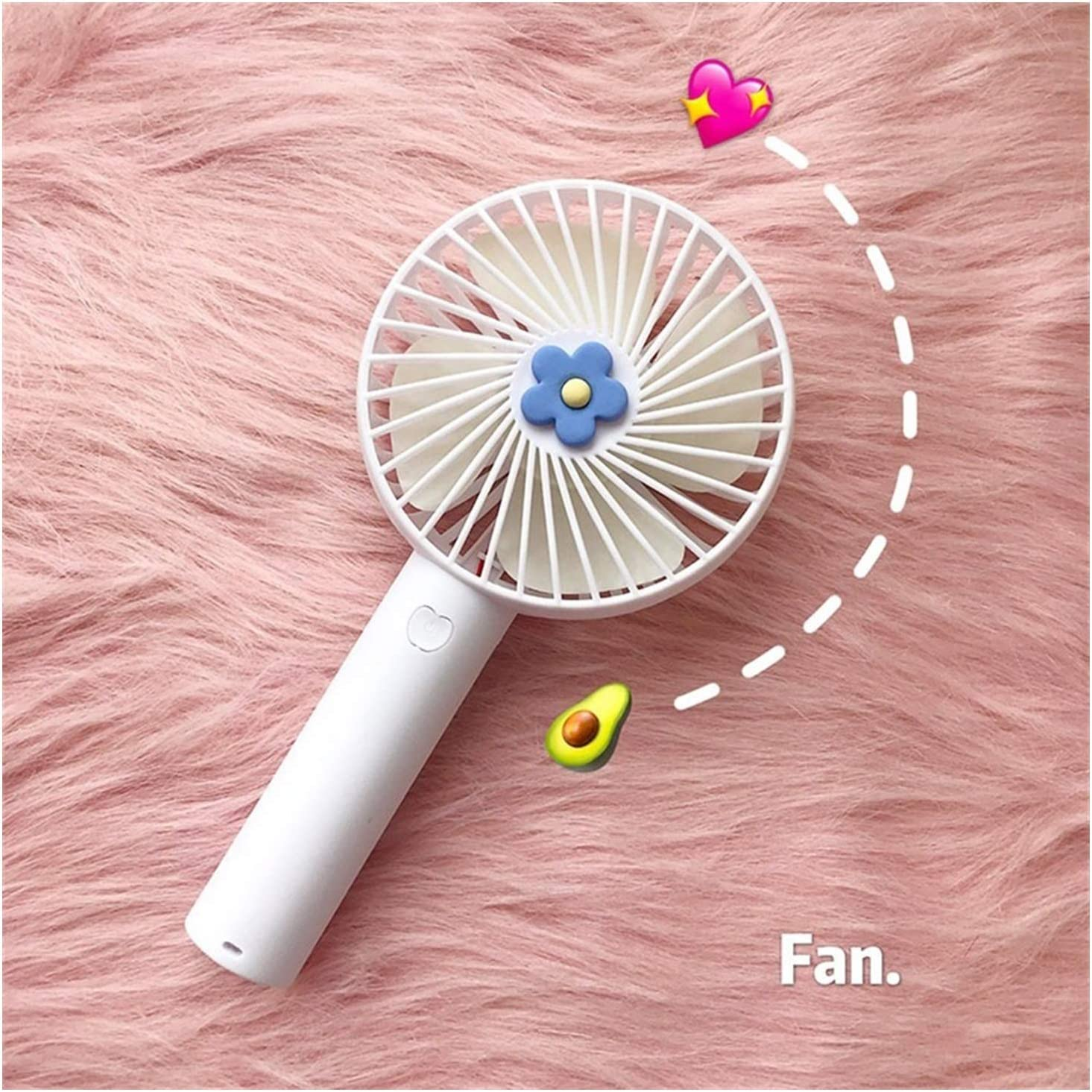Color : White ZHANGQIAO-AE Cute Flower Round Fan Miniskirt USB Handheld Portable Desktop Electrical Fan Home Office Personal Fans Mini USB Desktop Fan Small Personal Silent Fan Por