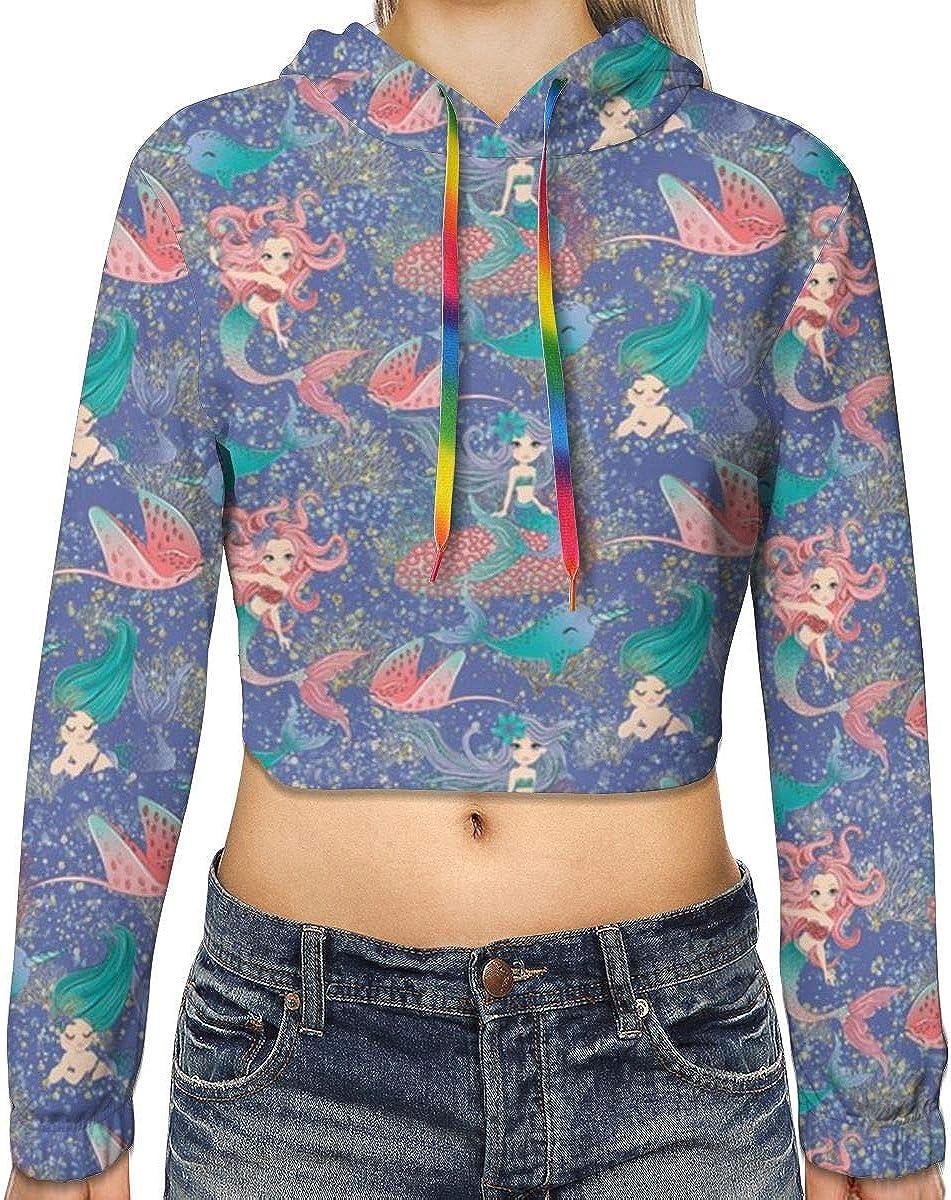 Adorable Mermaids Womens Sports Long Sleeve Crop Hoodie Sweatshirt Top Pullover Hooded Sweatshirt