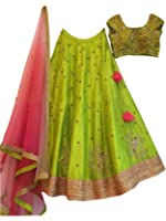 Shreebalaji Collection Women's Silk Anarkali Lehenga Choli (Parotltk_Green_Free Size)