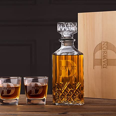 e61c49a4bf54 Personalized Whiskey Decanter & Glasses Set Wood Box Groomsmen Gifts  Boyfriend Gifts For Him