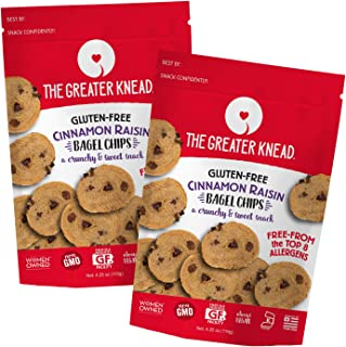 product image for Greater Knead Gluten Free Bagel Chips - Cinnamon Raisin, Vegan, non-GMO, Free of Wheat, Nuts, Soy, Peanuts, Tree Nuts (2 Bags)
