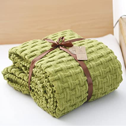 Knit Throw Blanket Crochet Sweater Texture TV Blanket Green Throws for  Bedroom Sofa Couch, 47x70 Inch