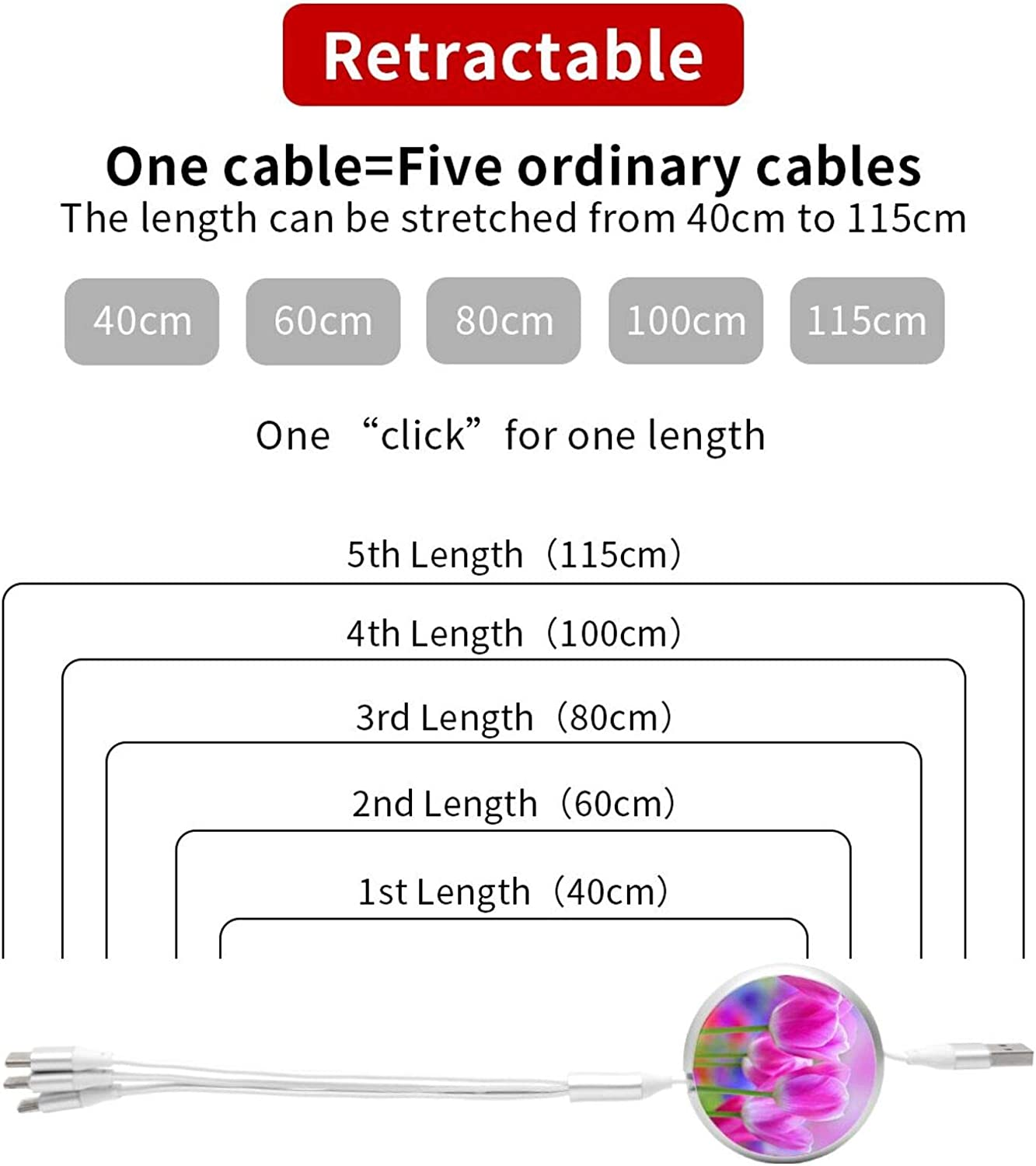 3 in 1 Retractable USB Charger Cable Cord Tulips Fast Charging Graphic USB Charge Cord Compatible with Cell Phones Tablets Universal Use