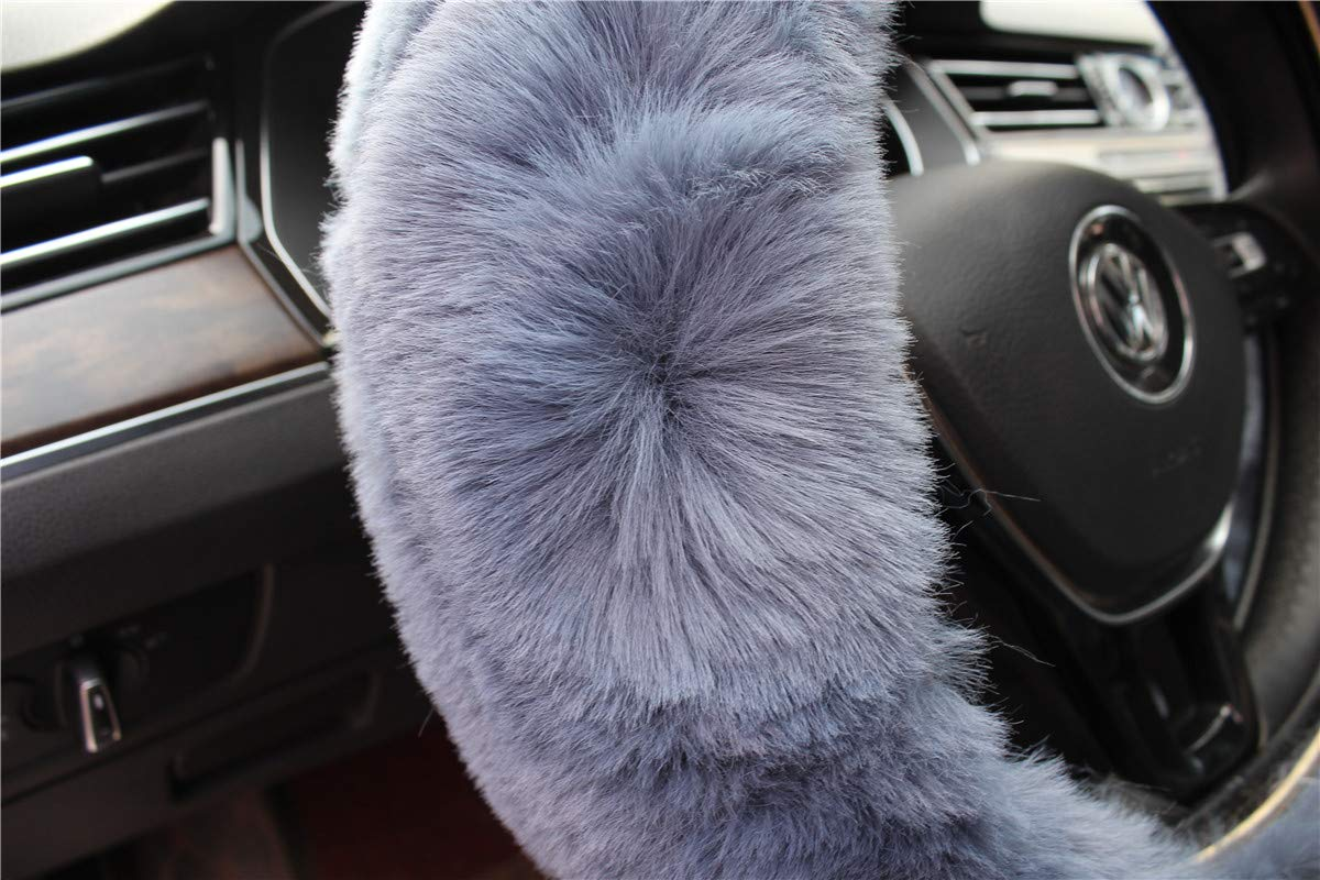 Purple Valleycomfy Winter Warm Faux Wool Steering Wheel Cover with Handbrake Cover Gear Shift Cover Set Universal 15 Inch 1 Set 3 Pcs