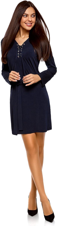 oodji Collection Damen Jerseykleid mit G/ürtel